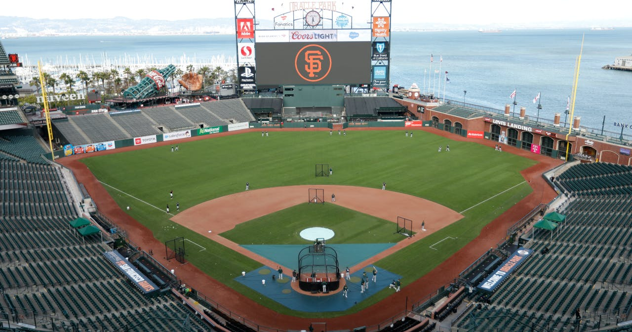 View of the interior of Oracle Park after getting free guest list